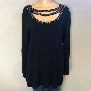 Reba Embellished Sweater Black Pullover Scoop Neck